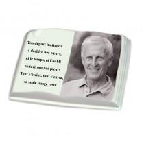 Livre porcelaine avec photo noir et blanc