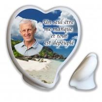Plaque photo forme de coeur incliné à poser